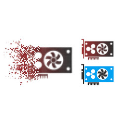 Dissipated dot halftone ripple video gpu card icon vector