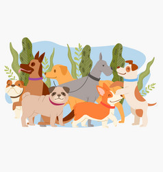 dog plant composition animal cute vector image