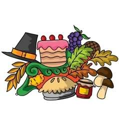Doodle art of thanksgiving design vector