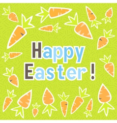 Easter carrots card on a green vector