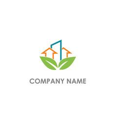 eco leaf building arrow business logo vector image