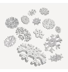 Falling 3d snowflakes vector