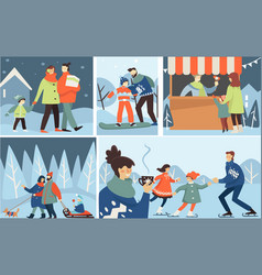 family winter holidays activities outdoors for vector image