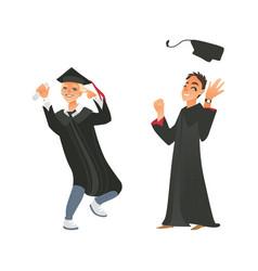 Flat boys graduate in gown cap vector