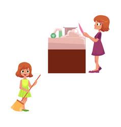Flat children making housework vector