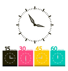 flat clock symbol time icons with 15 30 45 and 60 vector image