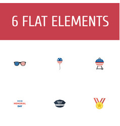Flat icons holiday barbecue spectacles and other vector