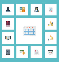 Flat icons mark accounting system duty and other vector