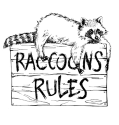 Funny and touching raccoon lies on a plate vector image