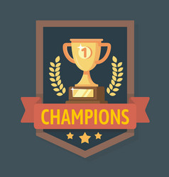 Gold champions cup with ribbon vector