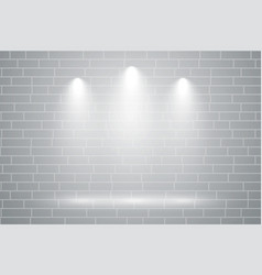 Gray wall with three focus light falling on it vector