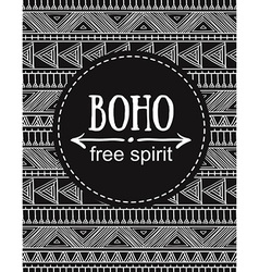 hand drawn boho style card tribal design vector image