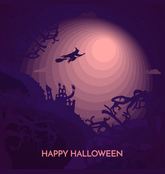 haunted happy halloween banner with witch vector image
