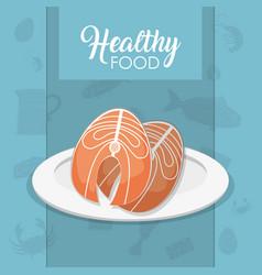 Healthy seafood concept vector