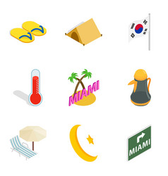 Hotel sector icons set isometric style vector