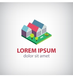 house 3d building icon logo isolated vector image