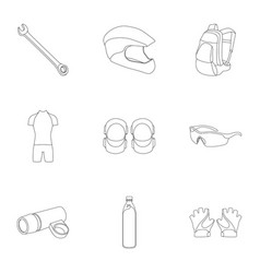 Icons of cycling bike set for bike backpack vector