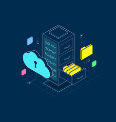 isometric big data storage and cloud computing vector image
