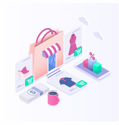 isometric e-commerce electronic business online vector image