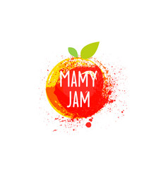 Jam logo and emblem fresh fruits and splashes vector