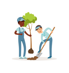 Kids planting tree boys in overalls and caps one vector
