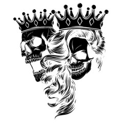 King and queen death portrait a skull vector