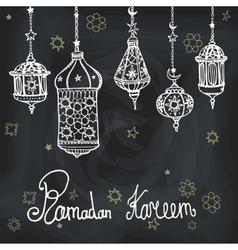 Lantern of Ramadan KareemDoodle greeting card vector image