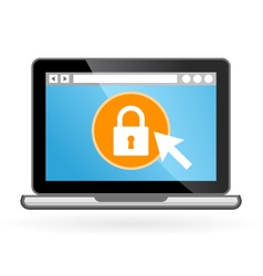 Laptop icon with padlock on screen - security vector image