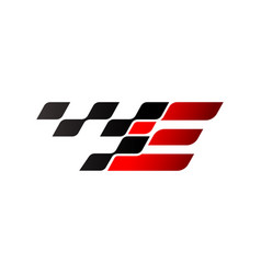 Letter e with racing flag logo vector