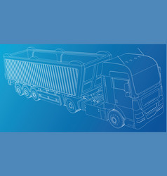 Line construction machinery truck tipper vector