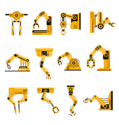 manufacturing robots arms automation equipment vector image