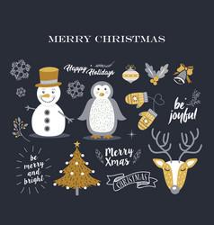 Merry christmas cute decoration elements retro set vector