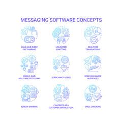 Messaging software blue gradient concept icons set vector