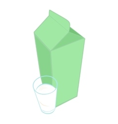 milk carton pack and a glass milk vector image