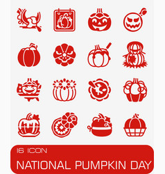 National pumkin day icon set vector