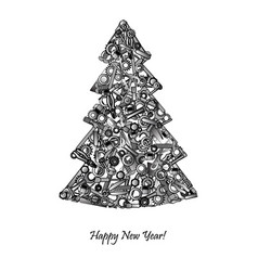 New year tree from hand tools unusual design for vector