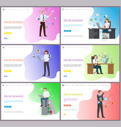 online business workers in digital platform set vector image