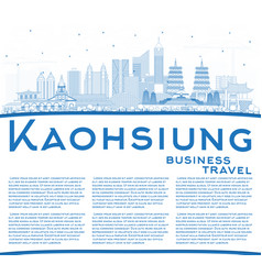 Outline kaohsiung taiwan city skyline with blue vector