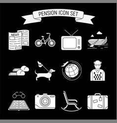 pension icons set vector image