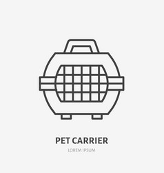 pet carrier flat line icon animal crate sign vector image