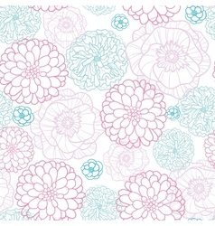 Pink Blue Flowers Lineart Seamless Pattern vector image