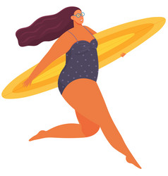 plus size woman in swimsuit with surfboard running vector image