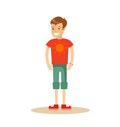 Portrait of teenaged boy in shorts and t-shirt vector