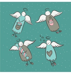 Postcard with cartoon angels vector