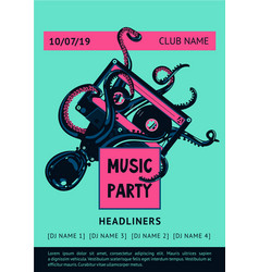 poster template with octopus and vinyl record vector image