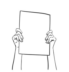 Protest hands holding blank banner sketch hand vector
