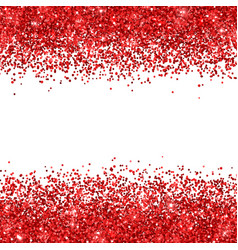 Red glitter on white background vector