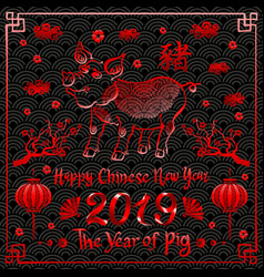 Red happy chinese new year 2019 zodiac sign with vector