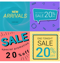 Sale promotion and new arrivals banner pastel vector