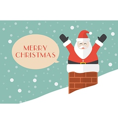 Santa claus in chimney with snow background vector